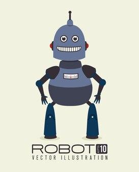 白い背景ベクトル図の上にロボットのデザイン