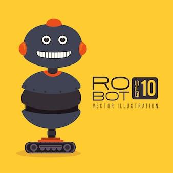 黄色の背景ベクトルのイラスト以上のロボットのデザイン