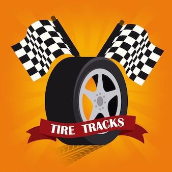 オレンジ色の背景ベクトル図上のタイヤのデザイン