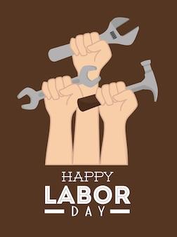労働日カードデザイン、ベクトル図。