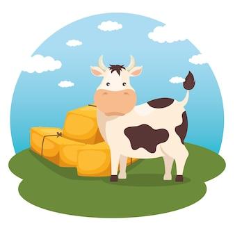 農業と農業の乾草の俵アイコン