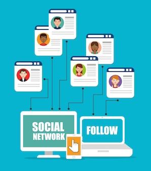 ソーシャルネットワークのテーマに従ってください