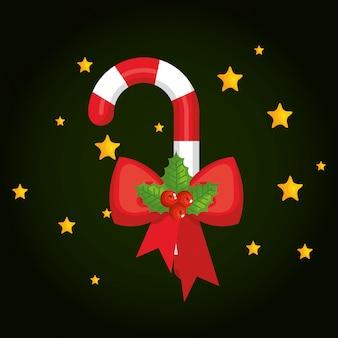 クリスマスの甘い杖の装飾のアイコン