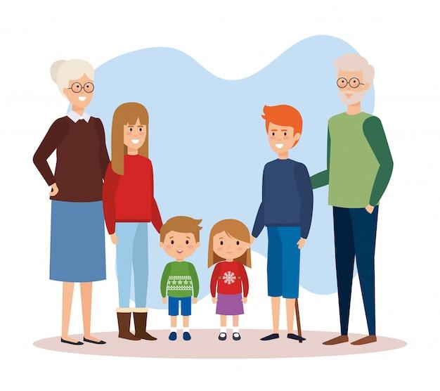 Семейные родители с одеждой декабря