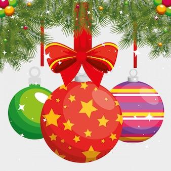 メリークリスマスボールが吊るす