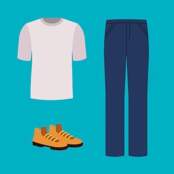パンツとブーツのシャツ