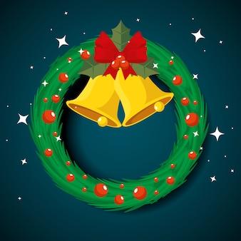 サークルガーランドクリスマス、ベルとリボンの弓