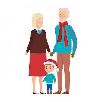 Пара бабушек и дедушек с внуком