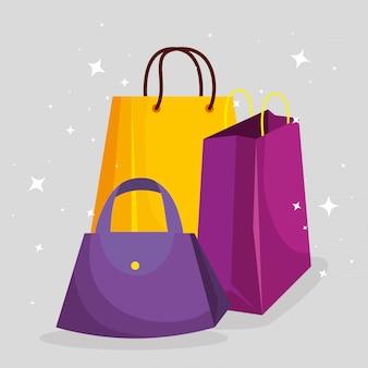 販売価格にハンドバッグとショッピングバッグ