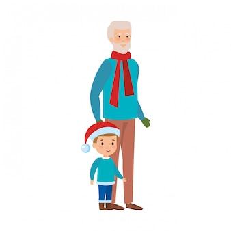Дед и внук с рождественской одеждой
