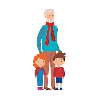 Дед и дети с рождественской одеждой
