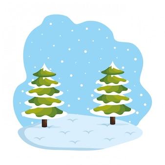 昼間の雪景色の場面