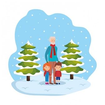 Дед и дети в снегу