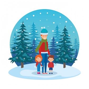 父と子供たちは雪景色でクリスマスの服を着ている