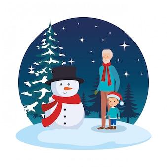 Дед и внук в снегу