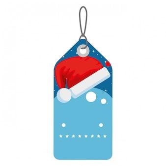 サンタの帽子で吊るすメリークリスマスタグ