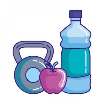 水とリンゴと重量挙げのダンベル