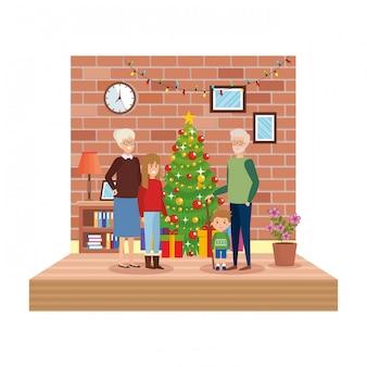 Бабушки и дедушки в гостиной с детьми