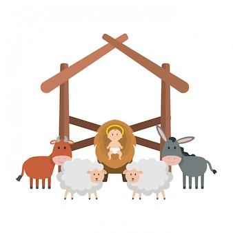Иисус ребенок в конюшне с овцами и животными