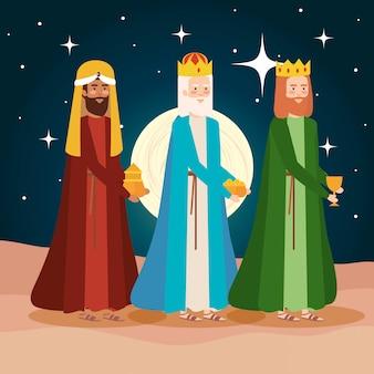 砂漠の夜景に賢明な王の管理人