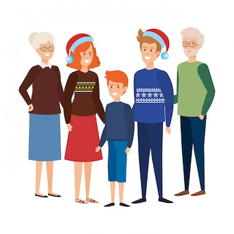 Члены семьи с зимней одеждой