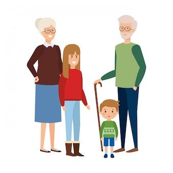 Пара бабушек и дедушек с детьми