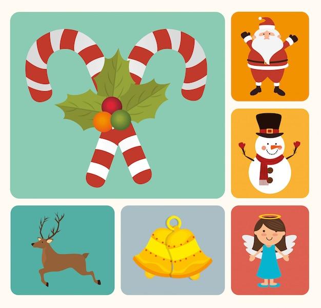 メリークリスマスカラフルなカードデザイン