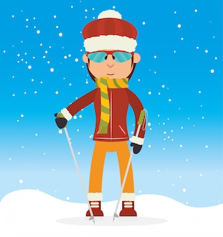 冬のスポーツとファッションの摩耗