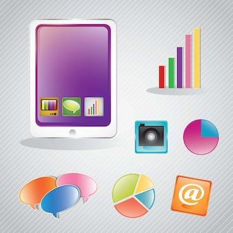 モバイルインフォグラフィックグラフとアプリケーションのセット