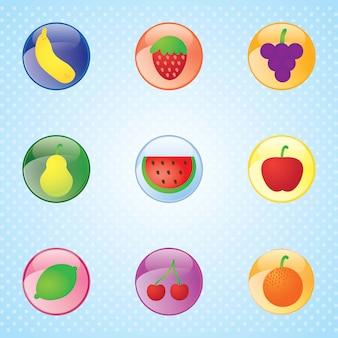 光沢のある果物は、青色の背景にカラフルなボタンを設定