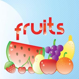 青い背景に雨滴を持つ新鮮なジューシーなフルーツ