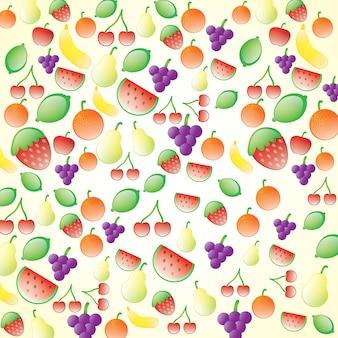 美しい光沢のある果物は、クリームの背景に設定