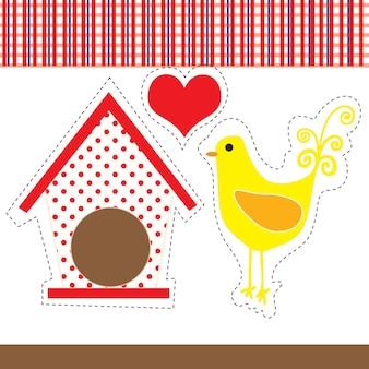 赤と白のチェッカーのある背景を持つアートカントリーの鶏