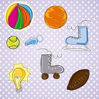 ビンテージの背景にスポーツの異なる写真