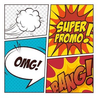 Поп-арт комиксов дизайн пузыри