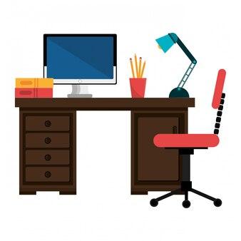 オフィス作業場所隔離されたアイコンのデザイン