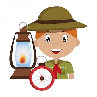 Разведчик персонаж с лампой изолированных значок дизайн