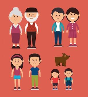 Семейный красочный мультфильм