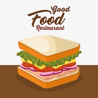 サンドイッチのおいしい孤立したアイコン