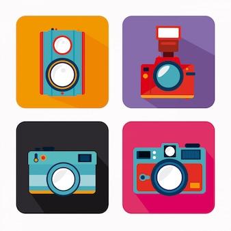 Дизайн камеры на белом фоне векторные иллюстрации