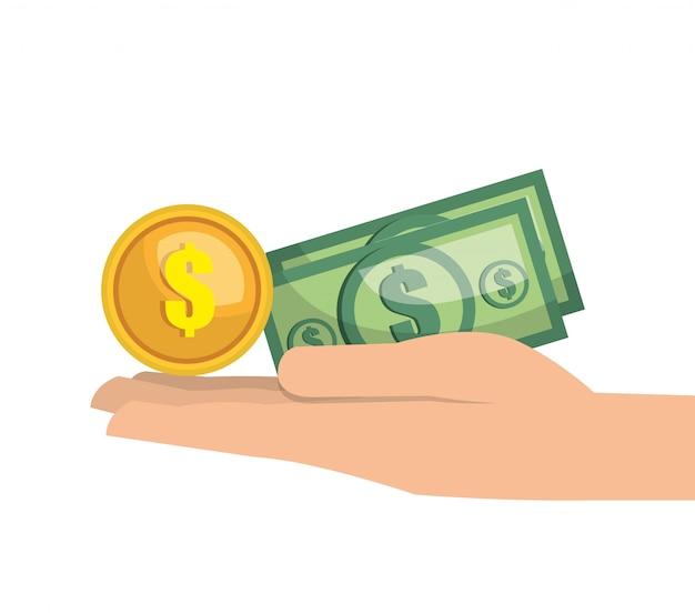Рука деньги валюта наличными изолированные