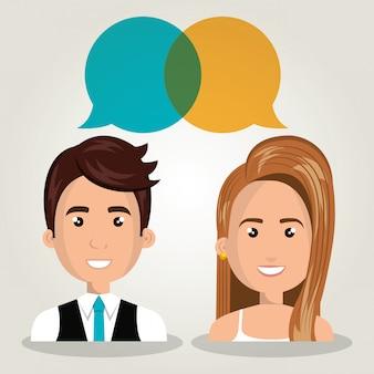 分離されたバブルの対話を話している男性女性