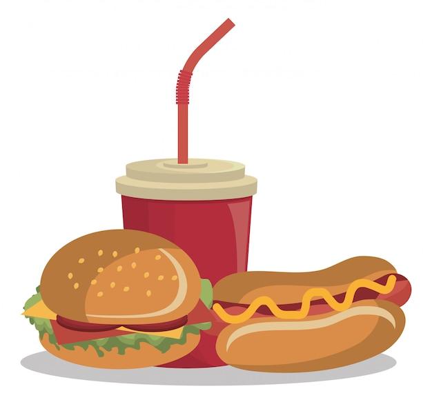 分離されたハンバーガーファーストフードデザイン