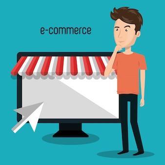 Мультфильм человек магазин электронная коммерция изолированный дизайн