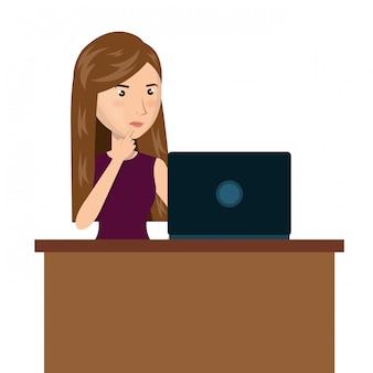 Мультфильм женщина ноутбук стол электронная коммерция изолированные дизайн
