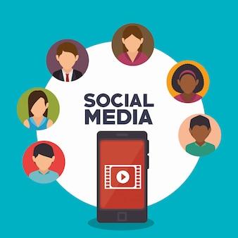 Аватар смартфон социальные медиа изолированные дизайн иконок