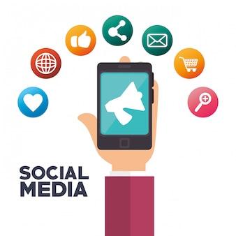 Социальные медиа изолированные значок дизайн