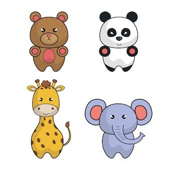 動物漫画かわいいデザインを設定します。