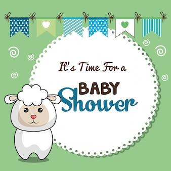 Пригласительная открытка на празднование появления ребенка с дизайном овец