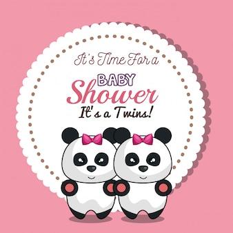 招待状双子女の子パンダベビーシャワーカードデザイン